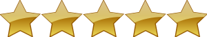 Image 5 Stars out of 5 Star Rating Symbol